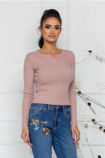 Bluza Xiomara roz din tricot cu textura reiata si nasturei