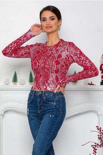 Bluza Yoly rosie cu design impletit si imprimeu argintiu