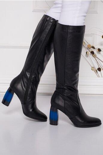 Cizme negre din piele naturala cu toc inalt gros in degrade albastru