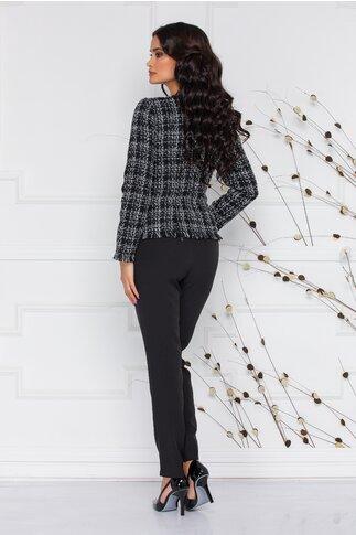 Compleu Ginette pixelat cu pantaloni negri