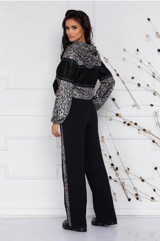 Compleu negru LaDonna by Catalin Botezatu cu animal print pe hanorac si pantaloni