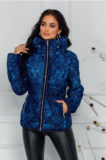 Geaca Daria bleu cu insertii catifelate bleumarin