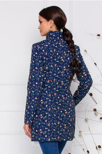 Geaca Ella Collection Natasha bleumarin cu imprimeuri florale