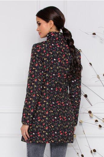 Geaca Ella Collection Natasha neagra cu imprimeuri florale