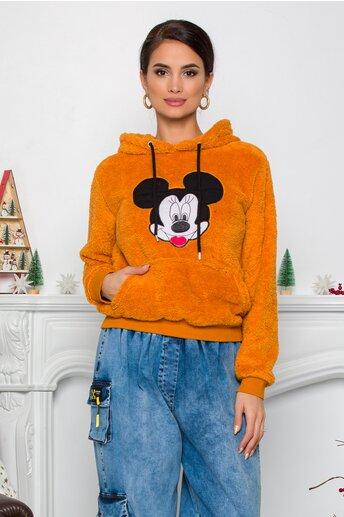 Hanorac Mickey Mouse galben mustar cu gluga si buzunar maxi
