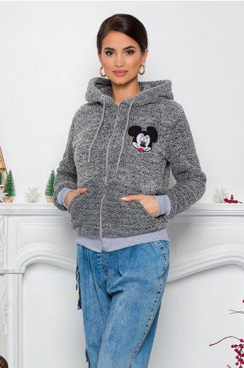 Hanorac Mickey Mouse gri cu fermoar si buzunare