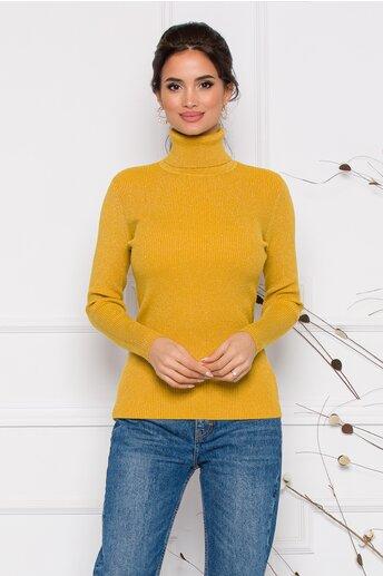 Maleta Gia galben mustar cu guler si textura reiata cu insertii din fir lurex