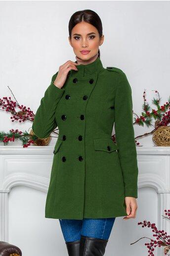 Palton Ella Collection Carla verde cu buzunare