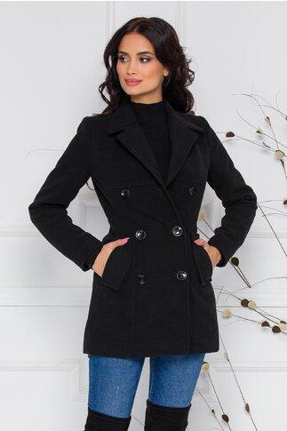 Palton Ella Collection Natalia negru cu buzunare