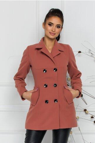 Palton Ella Collection Natalia roz coniac cu buzunare