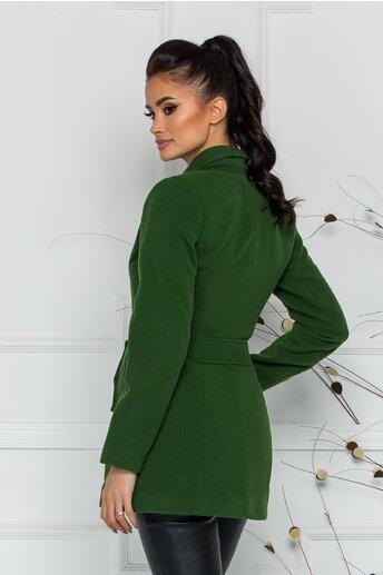 Palton Ella Collection Natalia verde cu buzunare