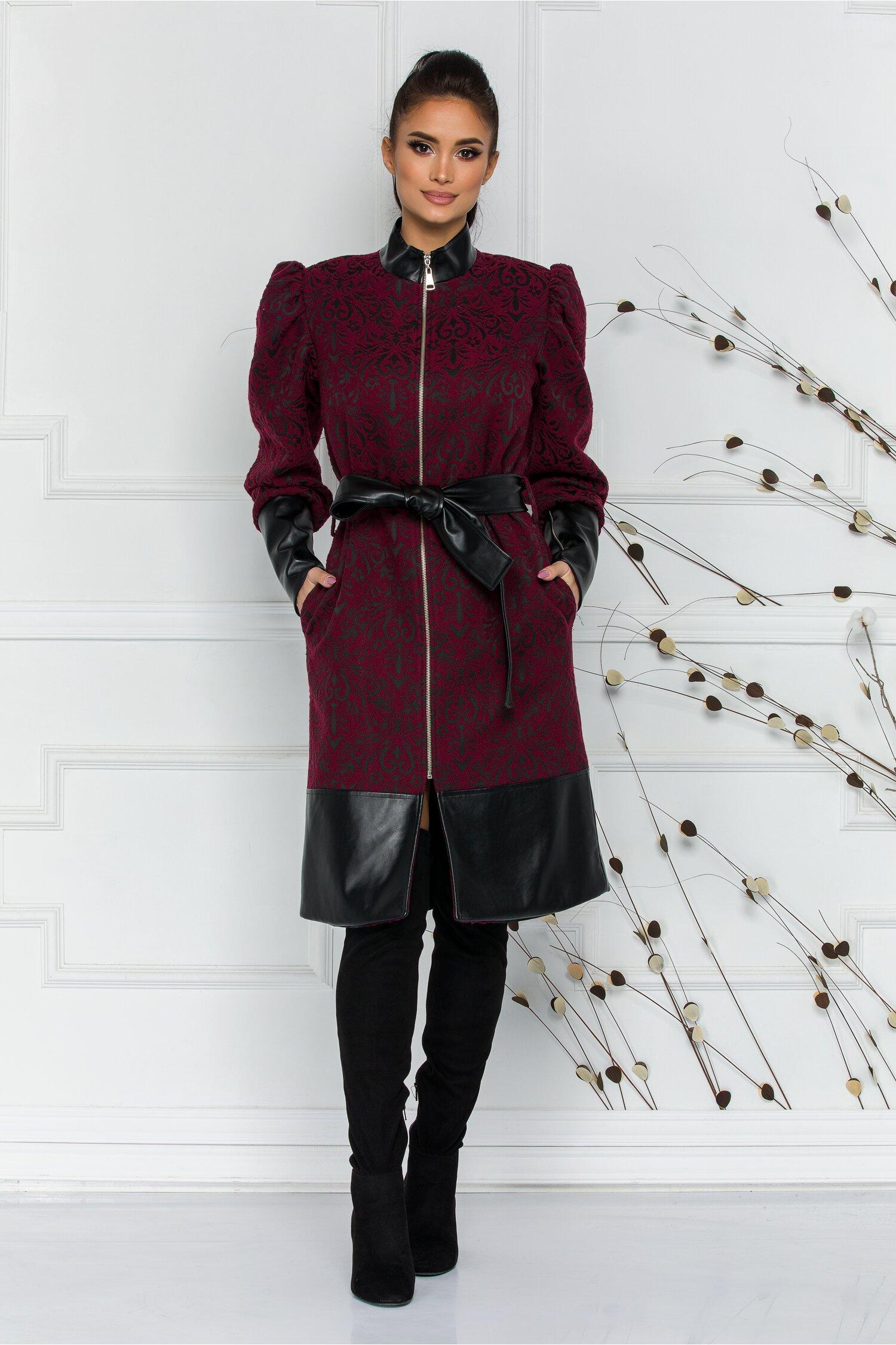 Palton LaDonna bordo cu insertii din piele ecologica si broderie florala