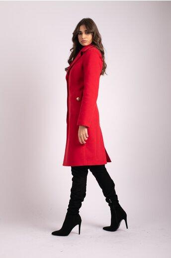 Palton LaDonna rosu cu buzunare maxi