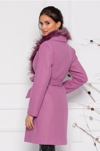 Palton MBG lila cu blanita la guler si inchidere prin nasturi si cordon in talie