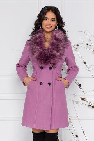 Palton MBG roz cu blanita la guler