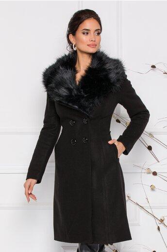 Palton Moze negru cu blanita la guler si doua randuri de nasturi