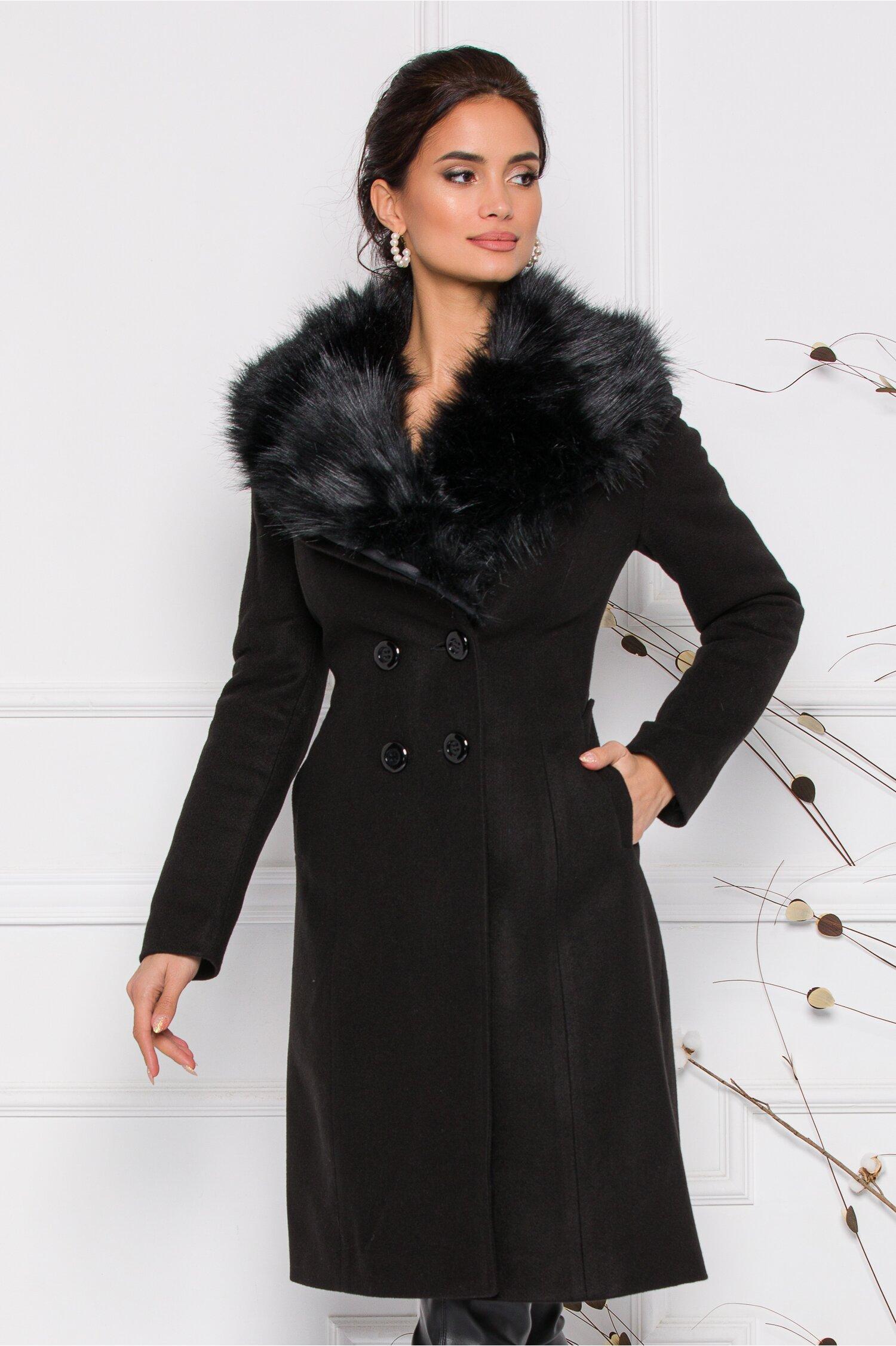 Palton Moze negru cu blanita la guler si doua randuri de nasturi imagine