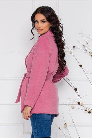 Palton Moze roz cu buzunare si cordon in talie