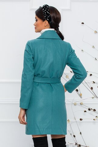 Palton Moze turcoaz cu nasturi metalici si cordon in talie