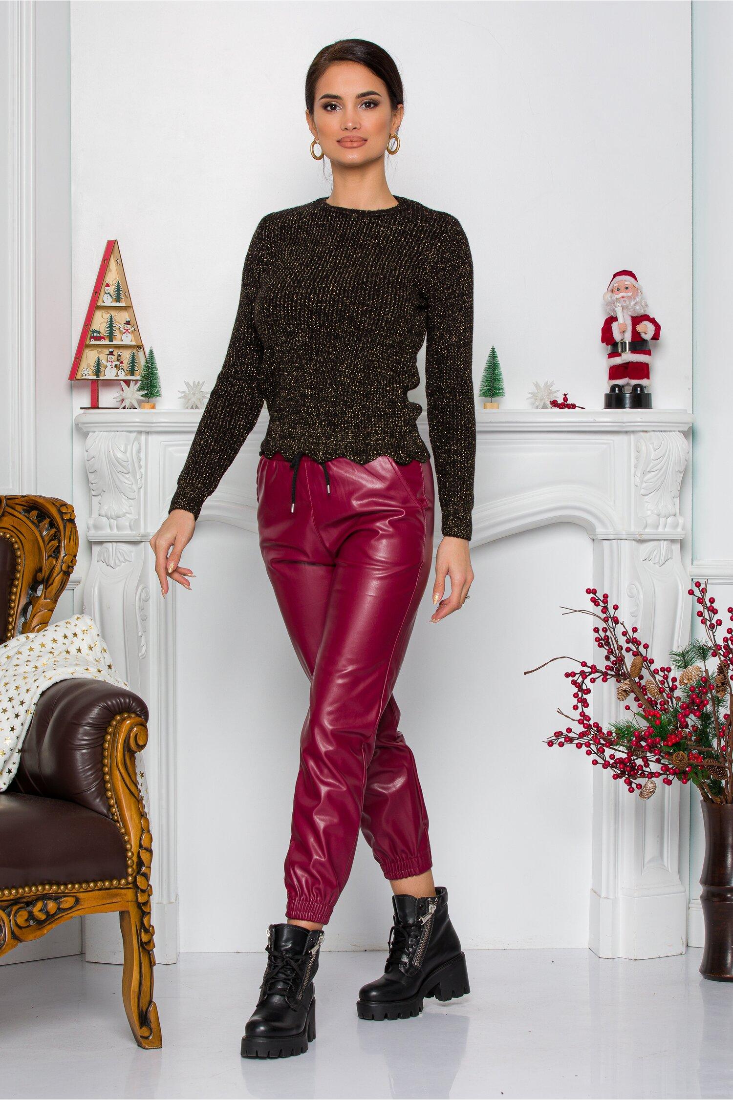 Pantaloni Alexa bordo lejeri din piele ecologica cu elastic in talie si la baza