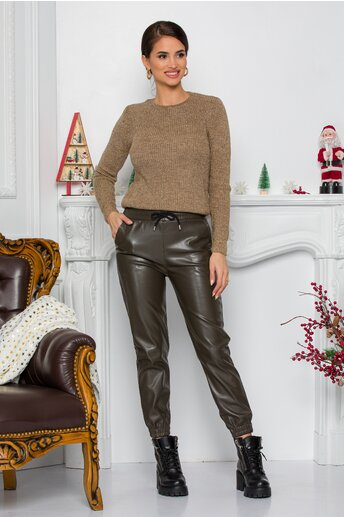Pantaloni Alexa kaki lejeri din piele ecologica cu elastic in talie si la baza