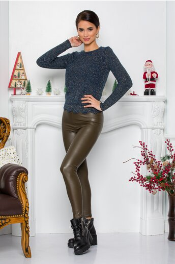 Pantaloni Arabella kaki din piele ecologica