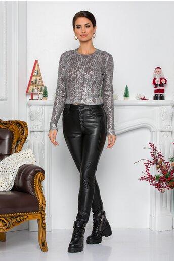 Pantaloni Diana negri din piele ecologica cu talie inalta si nasturi