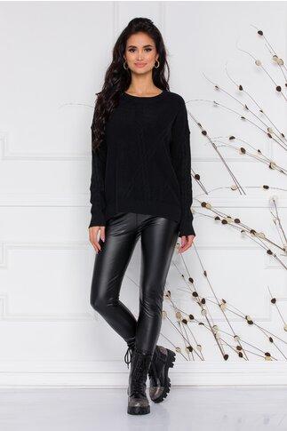 Pantaloni Evelinne din piele ecologica cu design in V pe talie