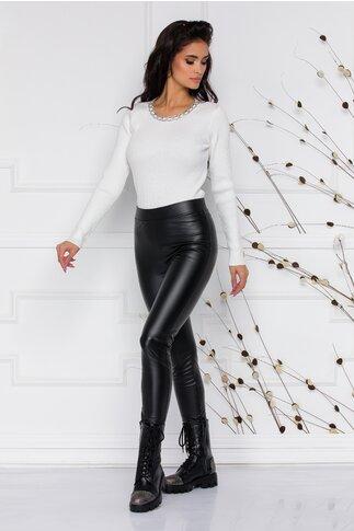 Pantaloni Leggy negri din piele ecologica