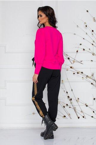 Pantaloni negri casual LaDonna cu insertii aurii