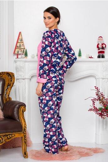 Pijama Cocolino cu bluza roz si pantaloni cu imprimeuri