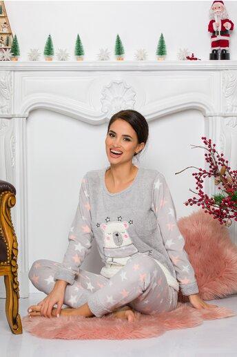 Pijama Cocolino gri cu stelute