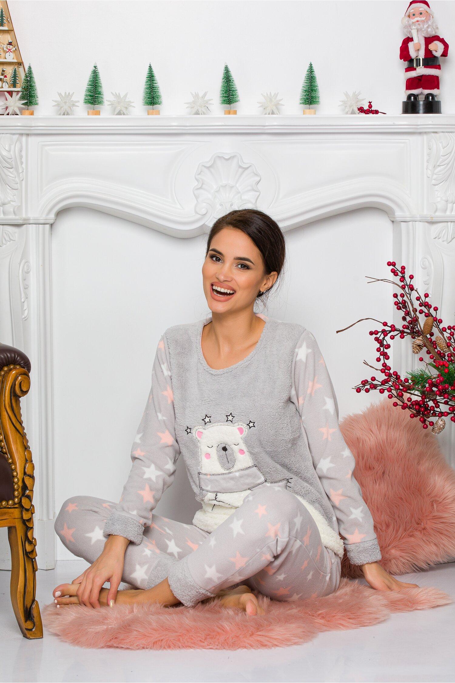 Pijama Cocolino gri cu stelute Idei Cadouri de Craciun Online