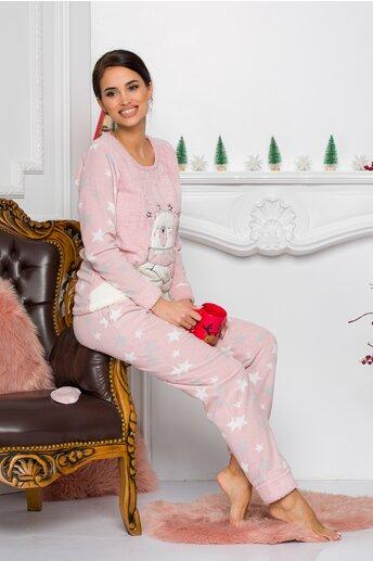 Pijama Cocolino roz cu stelute
