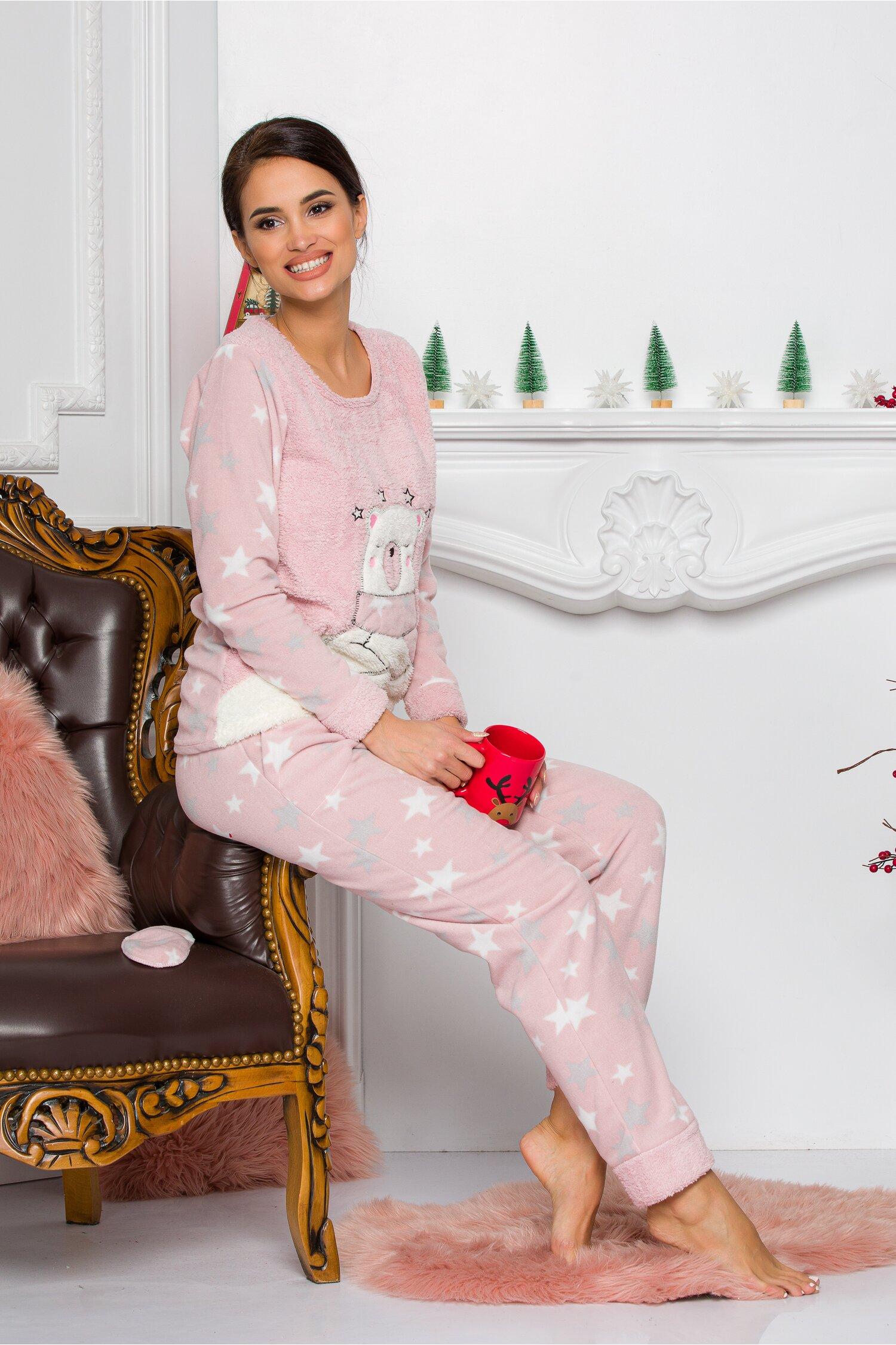 Pijama Cocolino roz cu stelute Idei Cadouri de Craciun Online