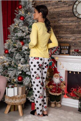 Pijama Cute Minnie cu bluza galbena si plantaloni albi cu imprimeu