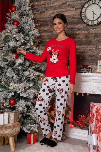 Pijama Cute Minnie cu bluza rosie si pantaloni albi cu imprimeu