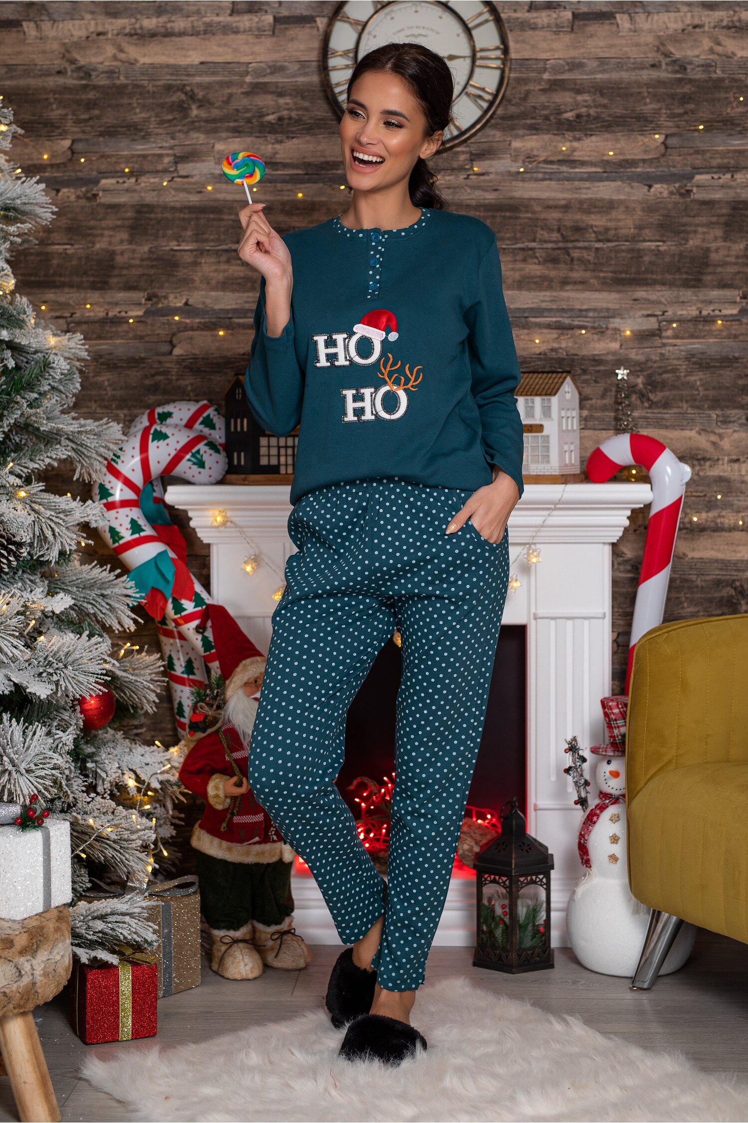 Pijama Hoho albastru petrol cu imprimeu imagine