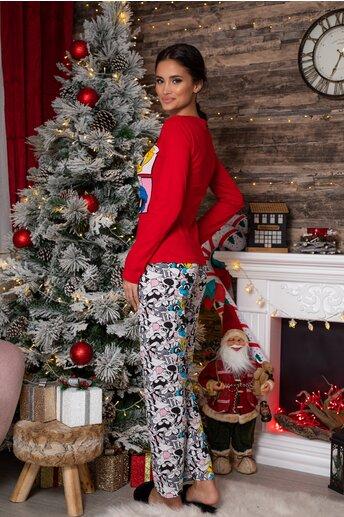 Pijama Looney Tunes cu bluza rosie si pantaloni cu imprimeu