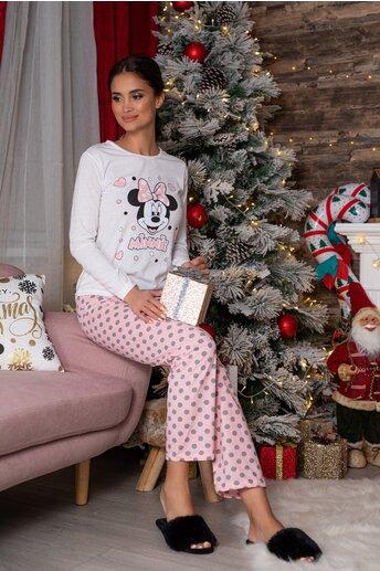 Pijama Minnie cu bluza alba si pantaloni roz cu buline