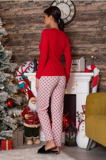 Pijama Minnie cu bluza rosie si pantaloni roz cu buline