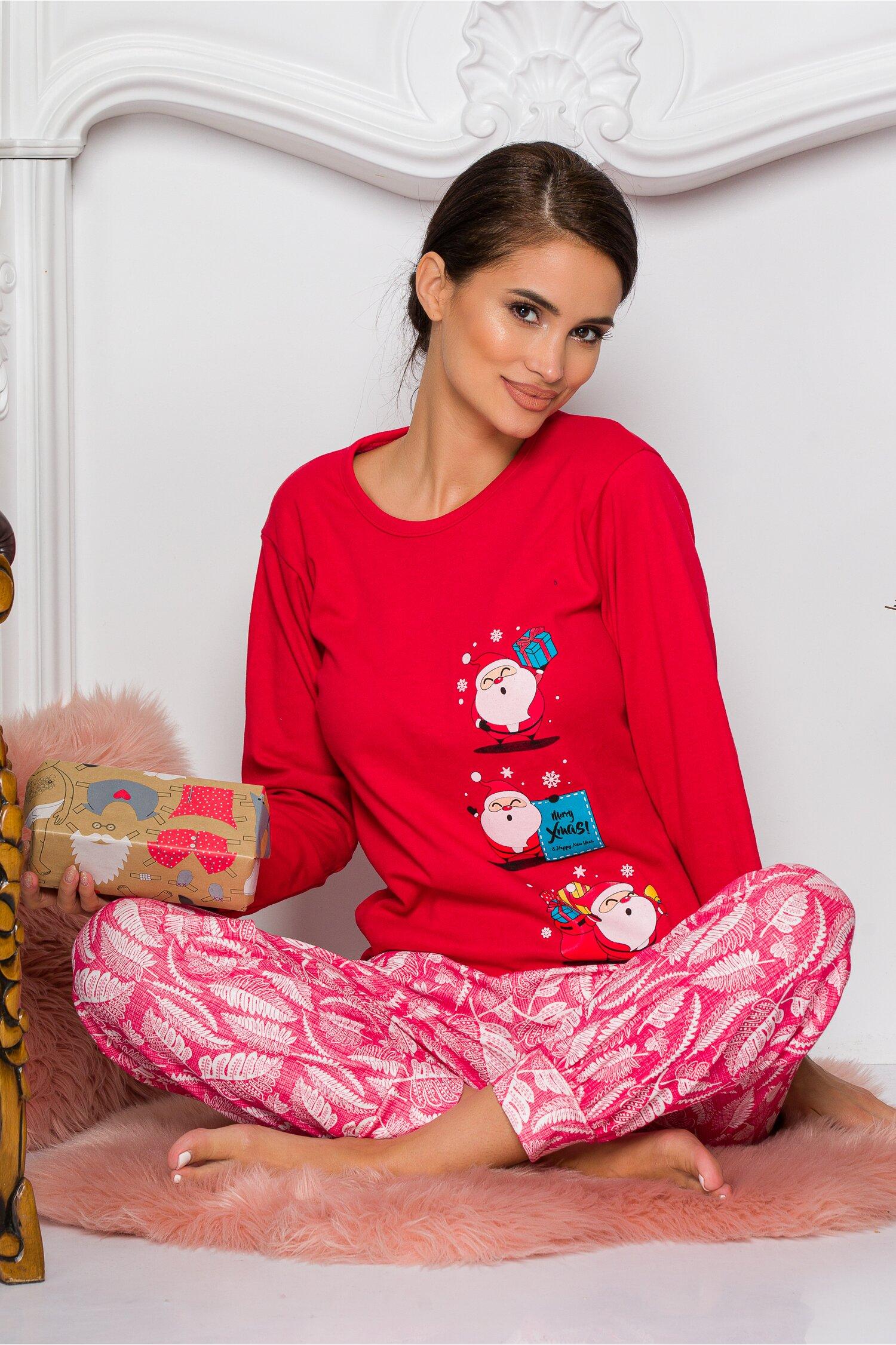 Pijama Sweety rosu cu mosi Idei Cadouri de Craciun Online