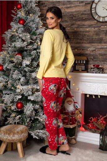 Pijama Too Cute cu bluza galbena si pantaloni rosi cu imprimeu