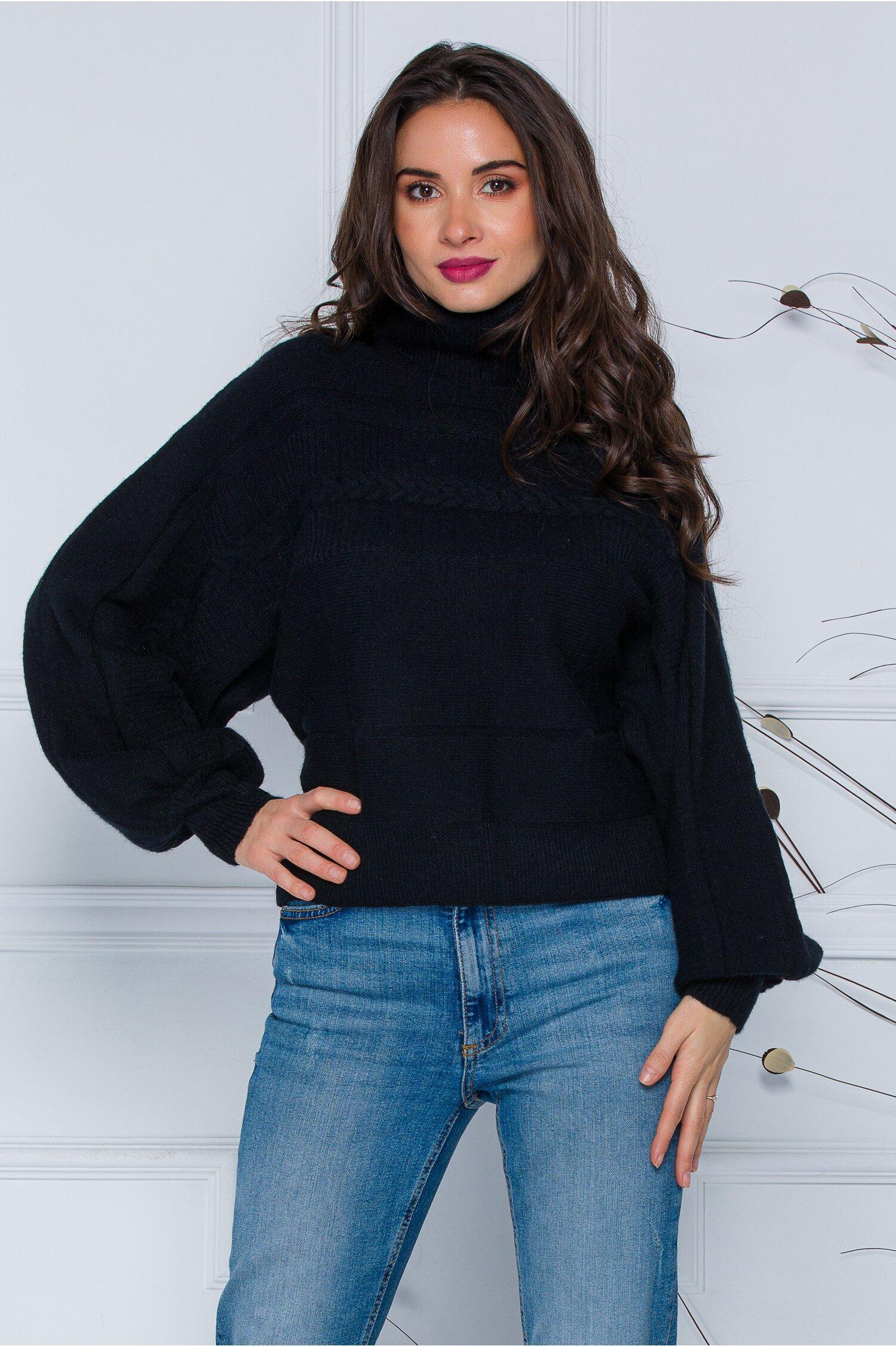 Pulover Dory scurt negru din tricot cu guler inalt imagine