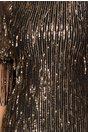 Rochia Ginette neagra cu franjuri din paiete aurii
