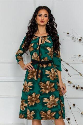 Rochie Ade clos verde cu imprimeu floral maro si cordon in talie