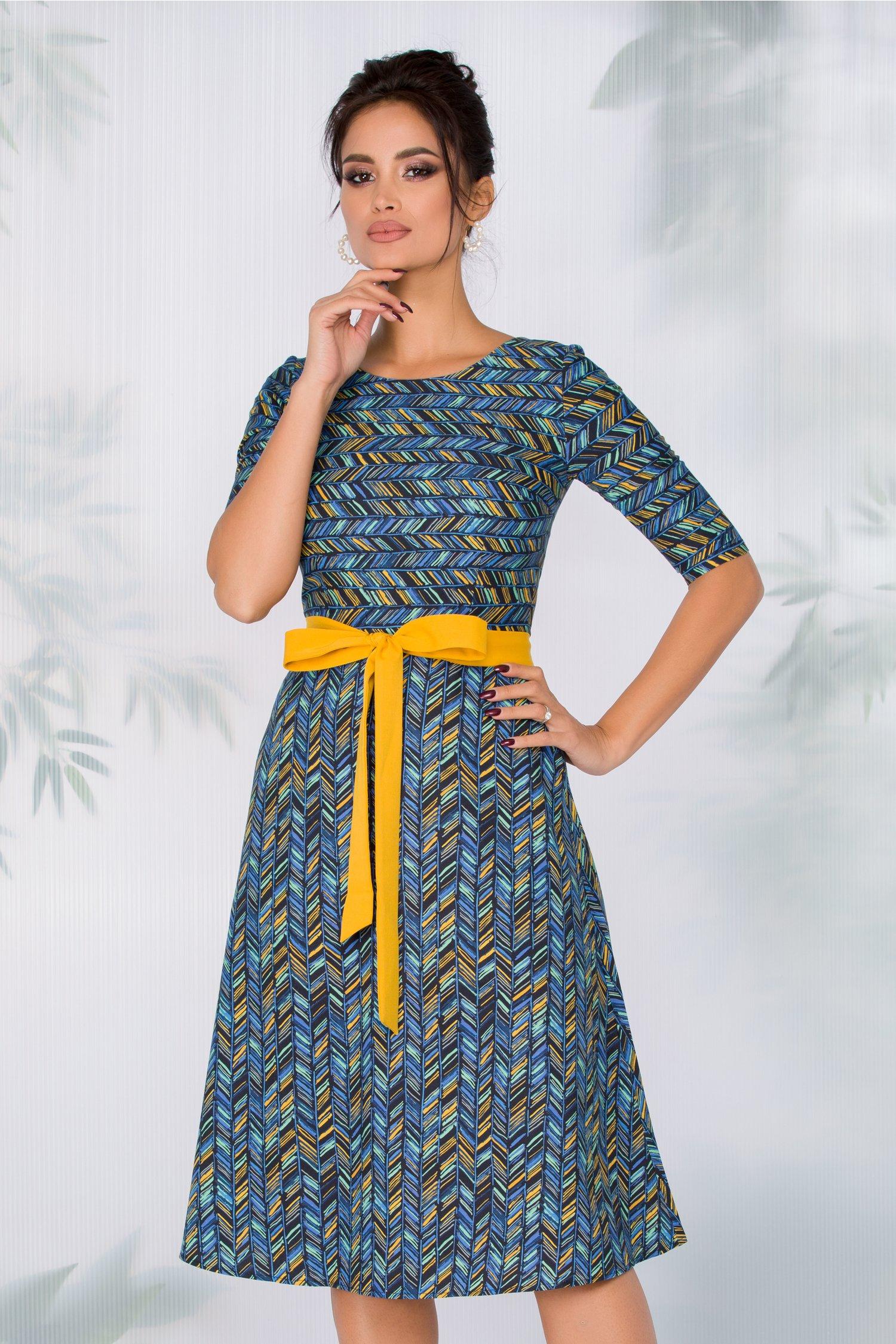 Rochie Adela bleumarin cu dungi multicolore
