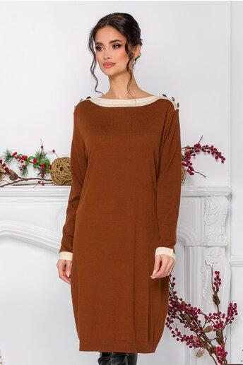Rochie Alexa maro din tricot cu nasturi decorativi la umeri