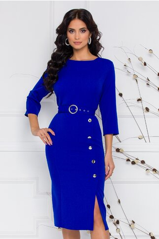 Rochie Anastasia albastra cu nasturi pe fusta si curea in talie