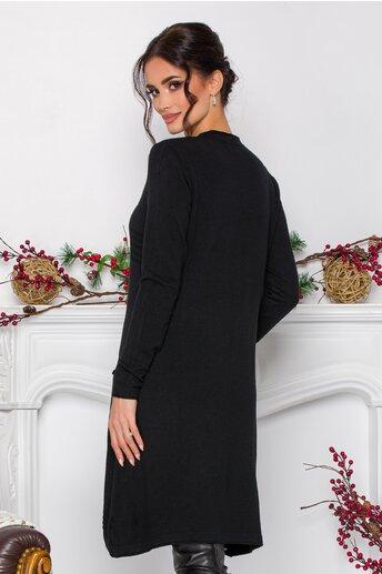 Rochie Anastasia neagra cu design in dungi si buzunare